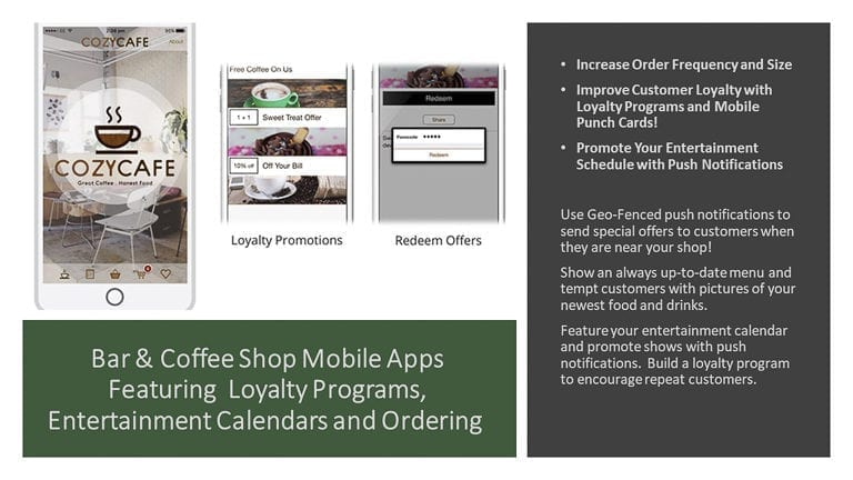 Bar & Coffee Shop Mobile Apps Featuring  Loyalty Programs, Entertainment Calendars and Ordering
